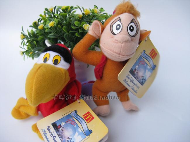 2pcs lot Aladdin Plush Toys Mini Abu Monkey Plush And Iago Parrot Bird 10cm aladdin