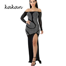 Kakan summer new womens dress hot drilling sexy slim split irregular white black