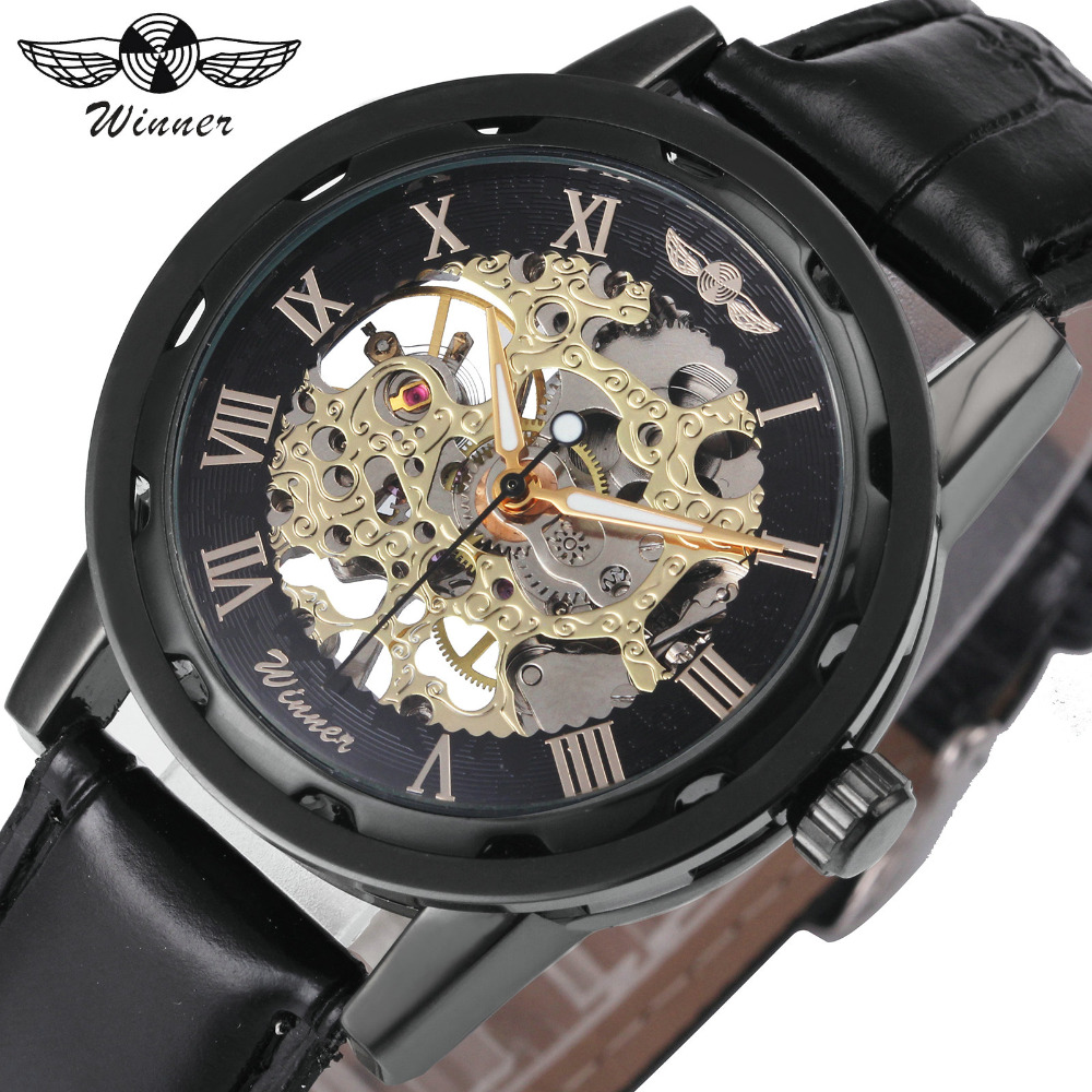 WINNER Watches Women Mechanical Watch Top Brand Luxury Golden Skeleton Leather Strap Roman Numerals Elegant Ladies Wristwatch mens mechanical watches top brand luxury watch fashion design black golden watches leather strap skeleton watch with gift box