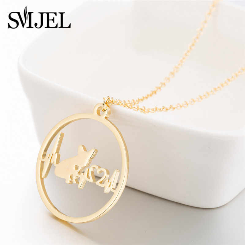 SMJEL Trendy Dog Necklaces Choker New Stainless Steel Heartbeat Puppy French Bulldog Necklace Jewelry Accessories Collier Femme