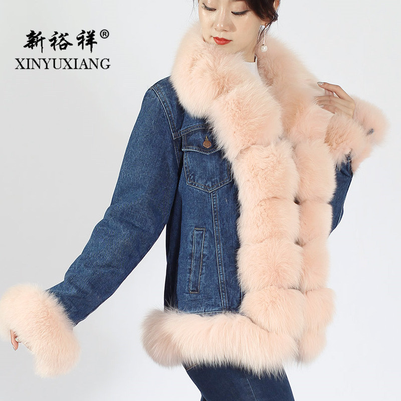 Outwear Fourrure Rose Femmes Xinyuxiang Zipper pink Parkas Renard Lapin Réel Black Denim De Épais Hiver 39a Naturel Manteau Casual Rex awvv5qCXx