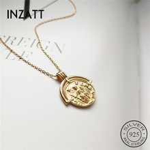INZATT Real 925 Sterling Silver Vintage Figure Pendant Necklace Personality Fashion Jewelry For Women Minimalist Accessories