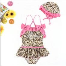 2019 New Summer children's swimsuit girl beachwear  girls bikini two-piece swimsuit infant girls Leopard pattern Bikini with Cap