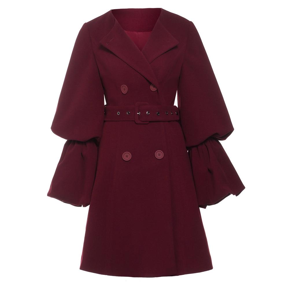 Sisjuly vintage women coat long sleeve solid slim jacket for girl lantern sleeve chic Burgundy wool blends autumn outerwear 2018