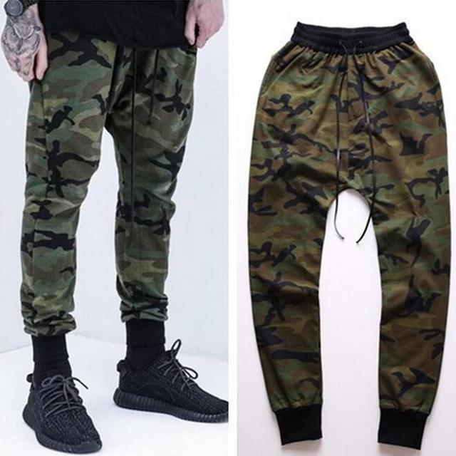 Hombres Joggers 2017 Nueva Moda 100% Algodón Para Hombre de Camuflaje Camo Print Pantalones Basculador Hiphop Cordón Elástico de La Cintura Envío Gratis