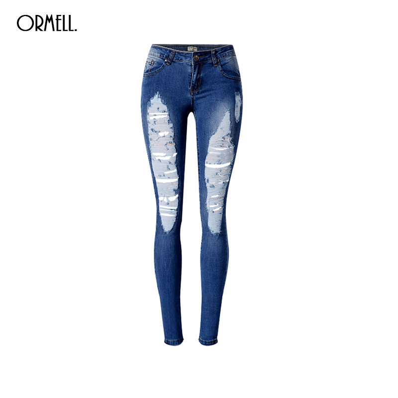 ФОТО ORMELL Women Classic Holes Blue Denim Jeans Plus Size Trousers Low Waist Elastic Design Ladies Fashion Casual Pants