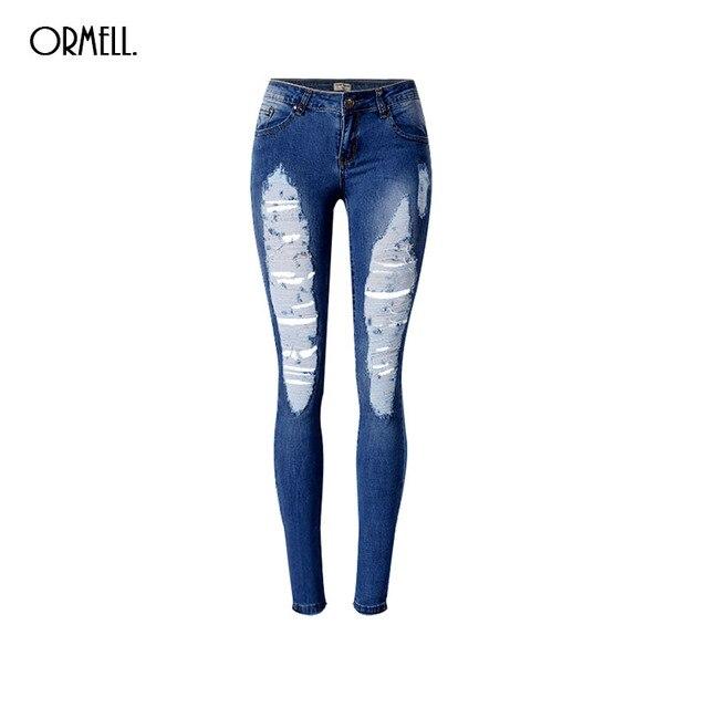 975359dbe4c3e ORMELL Women Classic Holes Blue Denim Jeans Plus Size Trousers Low Waist  Elastic Design Ladies Fashion Casual Pants