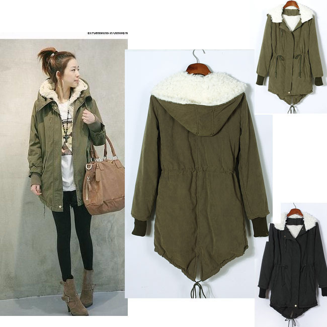 Online Shop 2015 New Women's Hoodies Thicken Fleece Faux Fur Warm Winter  Coat Hood Parka Overcoat - Olive Parka Womens Nathan Fashion