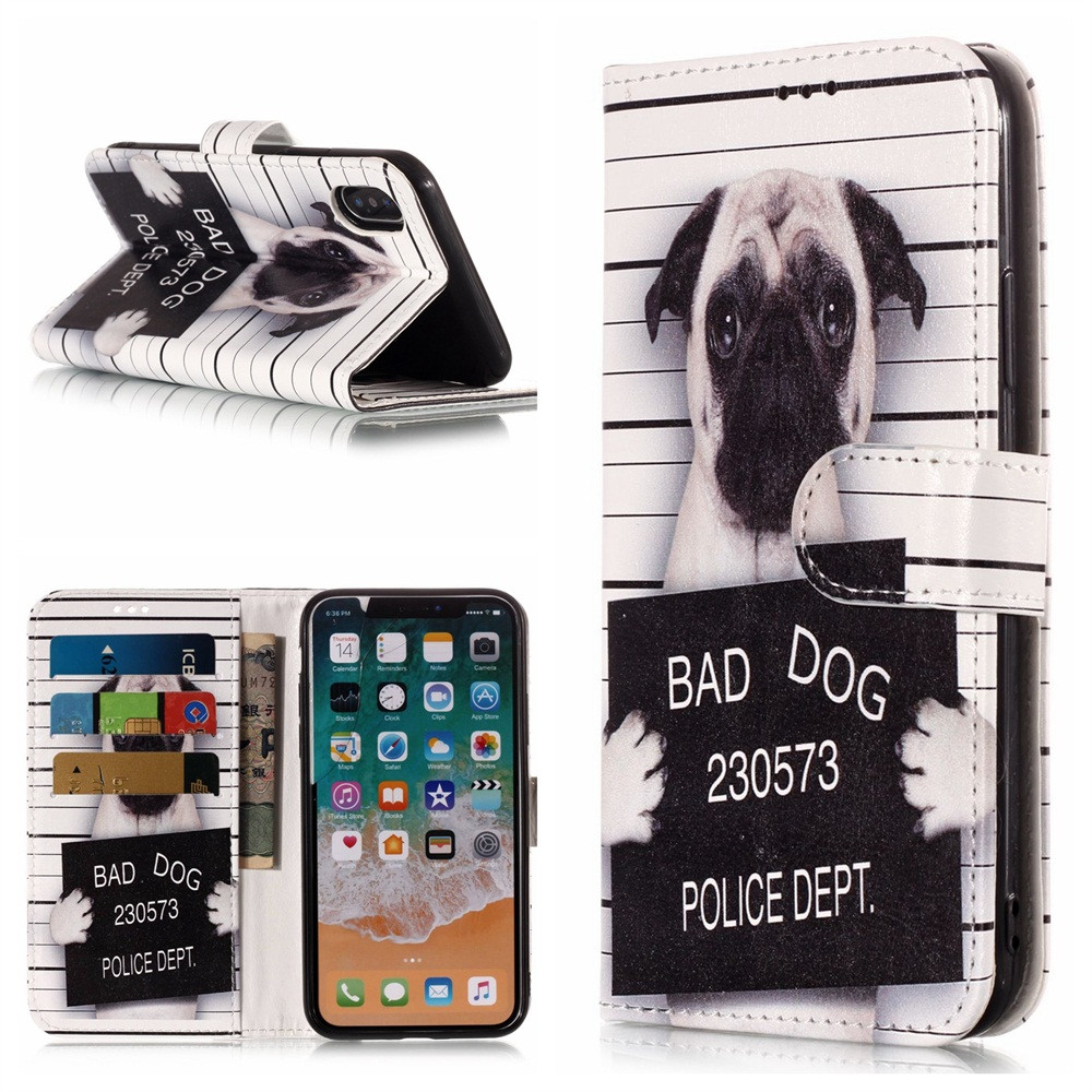 1pc Skull Bad Dog Slim Leather Flip Cover Card Wallet Case For Iphone X 5.8 Inch Phone Holder Phone Accessories For Credit Card A Wide Selection Of Colours And Designs