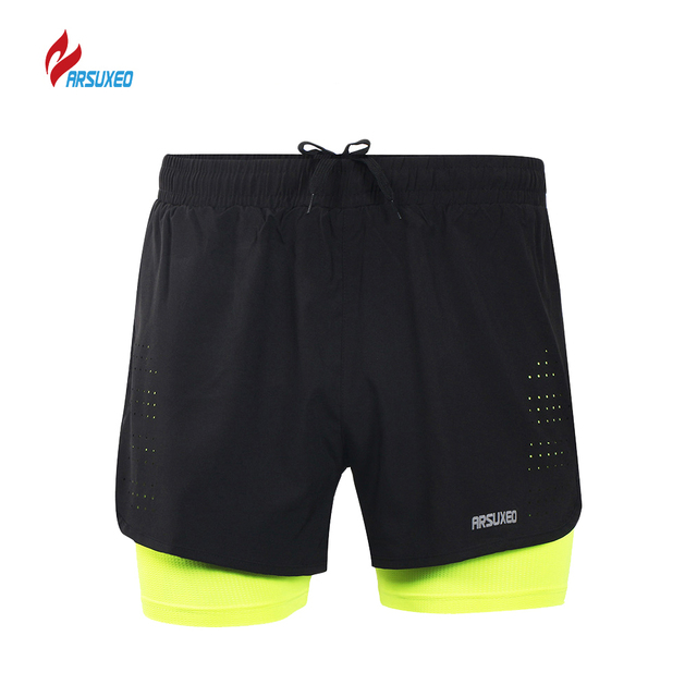 ARSUXEO New Running Shorts Men Breathable Mesh Active Training Exercise Running Gym Shorts Homme Sports Shorts Mens Sportswear
