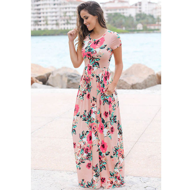 US $35.1 |Plus Size Women long maxi Dress 2017 Spring Summer Russian Floral  Print Dresses Floor Length Retro Vintage Elegant vestidos -in Dresses from  ...