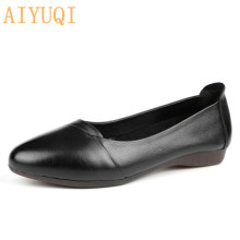 AIYUQI Women shoes flat 2019 spring new women casual genuine leather trendy pointed ballet  loafers for Female