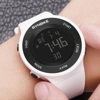 13730e5b3 Relojes deportivos para mujer reloj de pulsera de goma electrónico de 50 M  impermeable LED para mujer para exteriores