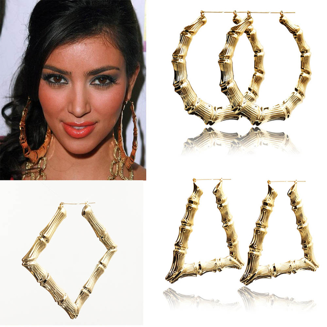 Europe Style Celebrity Exaggerated Hoop Circle Earrings Punk Bamboo Gold For Womens Fashion Jewelry