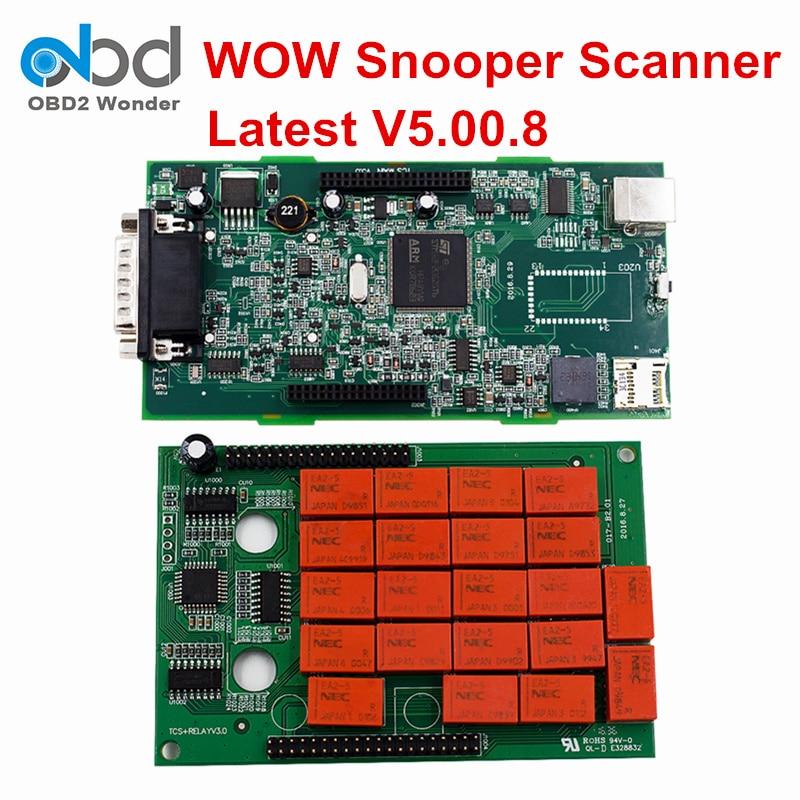 Цена за Двойной борт WOW snooper новый VCI диагностический сканер Программное обеспечение V5.008 с Keygen WOW snooper bluetooth автомобиль грузовик общий 3in1
