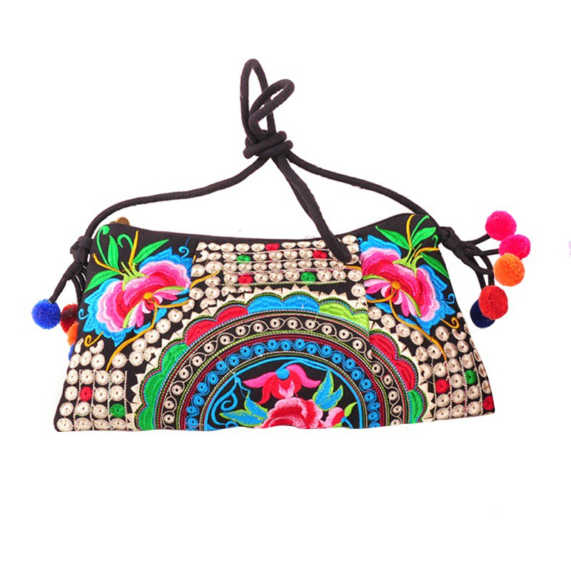 Womens Vintage Crossbody Bags Double Face Embroidery Small Shoulder Fashion Messenger Clutch Handbags