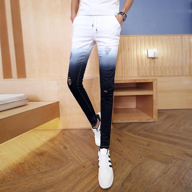 2019 Summer Men Jeans Brand New Gradient Color Skinny Jeans Men Fashion Slim Fit Streetwear Denim Men Pants Hole Trousers Men