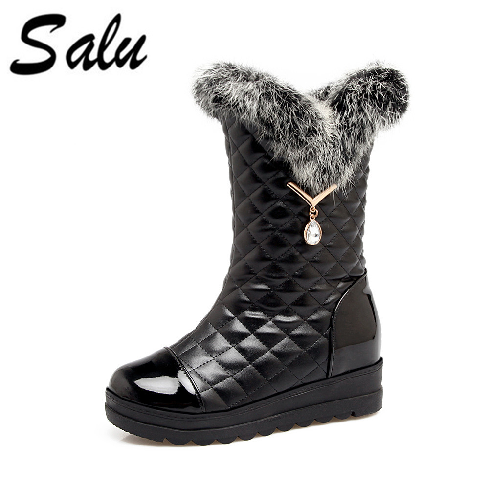 Salu 2018 mid calf boots top quality women shoes fashion boots in winter snow boots rhinestone platform big size 11 12 10 цена