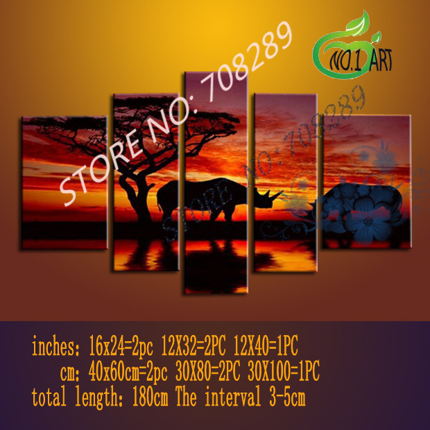 Dusk rhino The high quality ensure Hand painted Home decoration Cheap Abstract the Modernist Wall art Oil Painting Picture