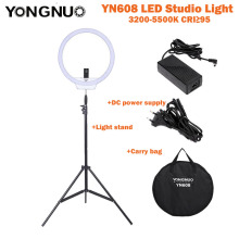 YongNuo YN608 Anillo de estudio LED Video Light 3200K ~ 5500K Control remoto inalámbrico CRI> 95 Lámpara de fotos + Bolsa de transporte + Adaptador de corriente + Soporte de luces
