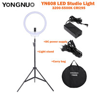 YongNuo YN608 LED Studio Ring Video Light 3200K~5500K Wireless Remote CRI>95 Photo Lamp + Carry Bag + Power Adapter+ Light Stand
