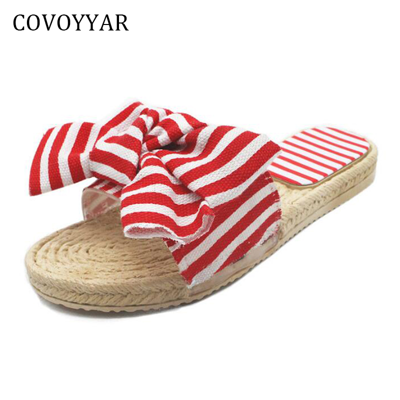COVOYYAR New Big Bow Womens Slippers 2018 Fashion Summer Hot Striped Flat Women Slides Straw Beach Shoes WSL518