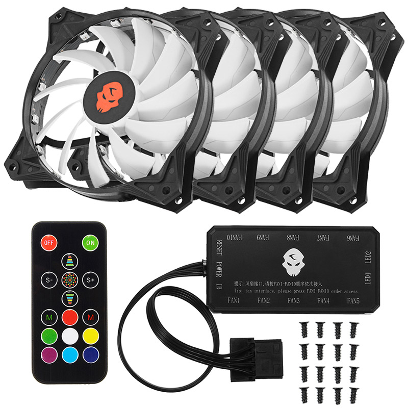 1/3/4/6pcs RGB Cooling Fan Computer Case CPU Cooler LED Light Adjust with Remote Control Fan Controller 120mm Quiet For PC CPU en labs 6 channel 3 pin 4 computer cpu cooler case fan speed controller w rubber backed tap for pc internal