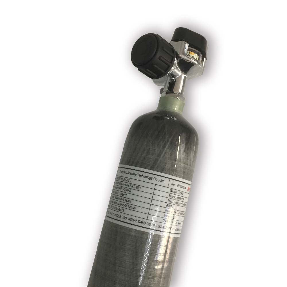 AC10221 SCBA Cylinder Carbon Fiber Cylinder Small Composite Bottle PCP Cylinder 2L 4500psi For Gun Air Compressed Acecare 2019