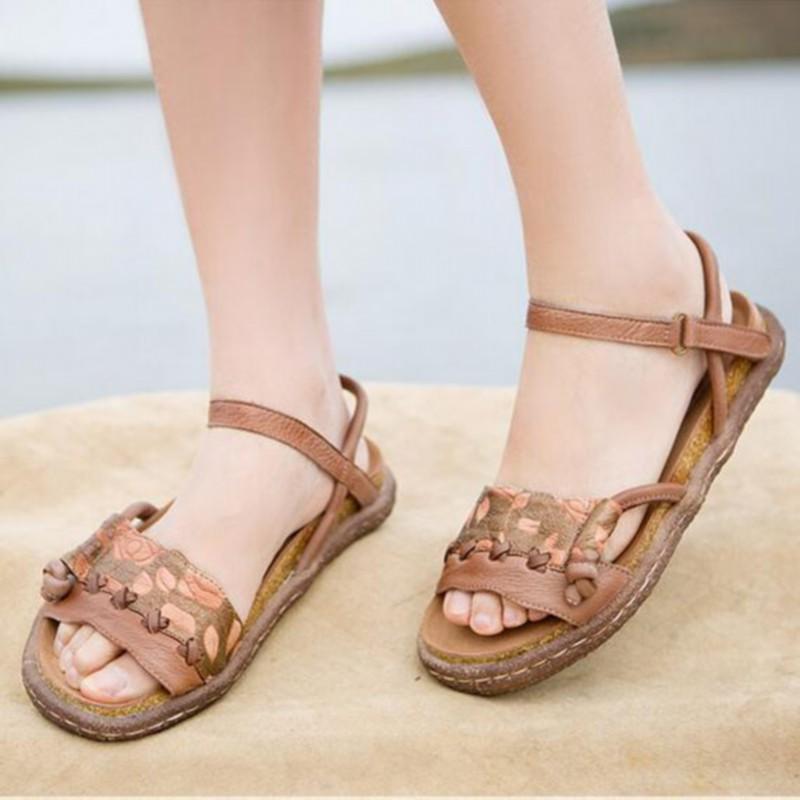 2016 new cowhide flat women sandals genuine leather color block decoration sandals breathable comfort women shoes