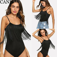 Women Black Sheer Mesh Tassel Bodysuit Sexy Lady Straps Bandage Bodycon Romper Sleeveless Stretch Sling