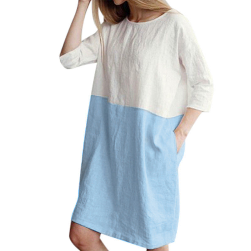 1c9d784b5a0 2018 Women Casual Cotton Linen Dress Patchwork 3 4 Sleeve O neck Ladies  Loose Oversized Pockets Tunic Shift Dress-in Dresses from Women s Clothing  on ...