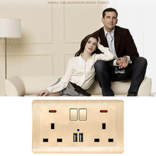 Uk Standard Switched Socket 146 Type 13A With Dual Usb Wall Power Outlet Panel coswall wall socket uk standard power outlet switched with dual usb charge port for mobile 5v 2 1a output stainless steel panel