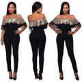 Long Black Sequined Rompers Womens Jumpsuit Elegant Ruffle Mesh Club Party Sexy Off Shoulder Bodycon Long Jumpsuit Pants Overall