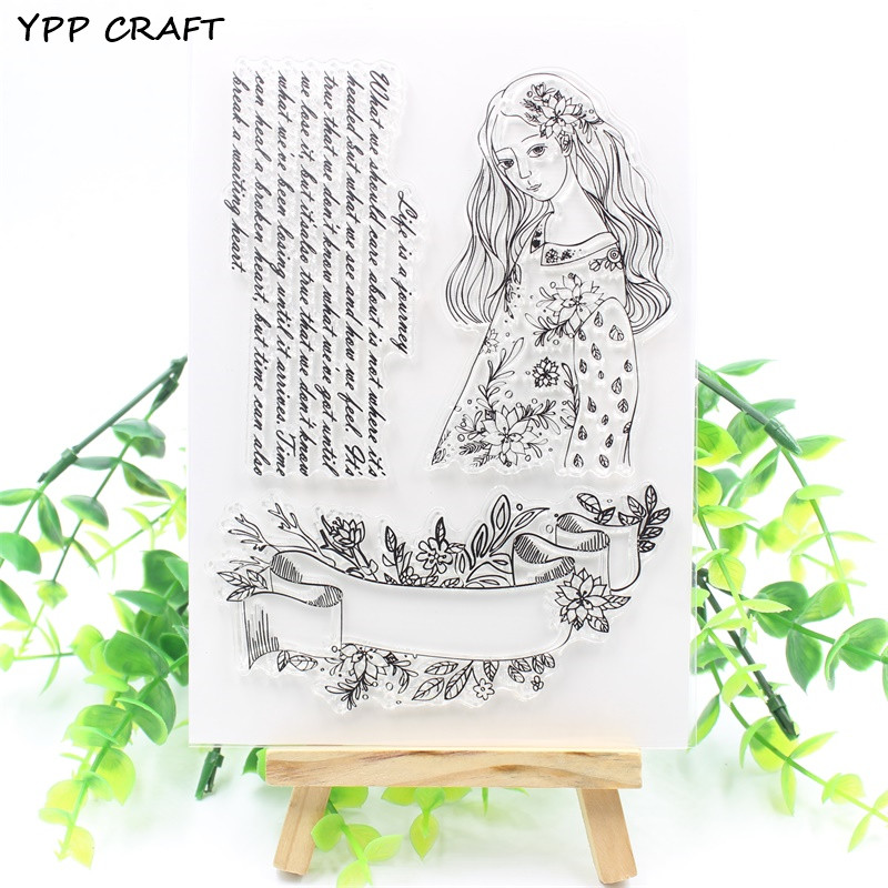 YPP CRAFT Beautiful Girl Transparent Clear Silicone Stamps for DIY Scrapbooking/Card Making/Kids Fun Decoration Supply
