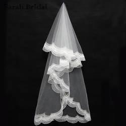 Простые 2 слоя белый Кружево Край свадебная фата 1.5 м Тюль Фата нет расческа Свадебные аксессуары въелось de Novia в наличии 11043wt