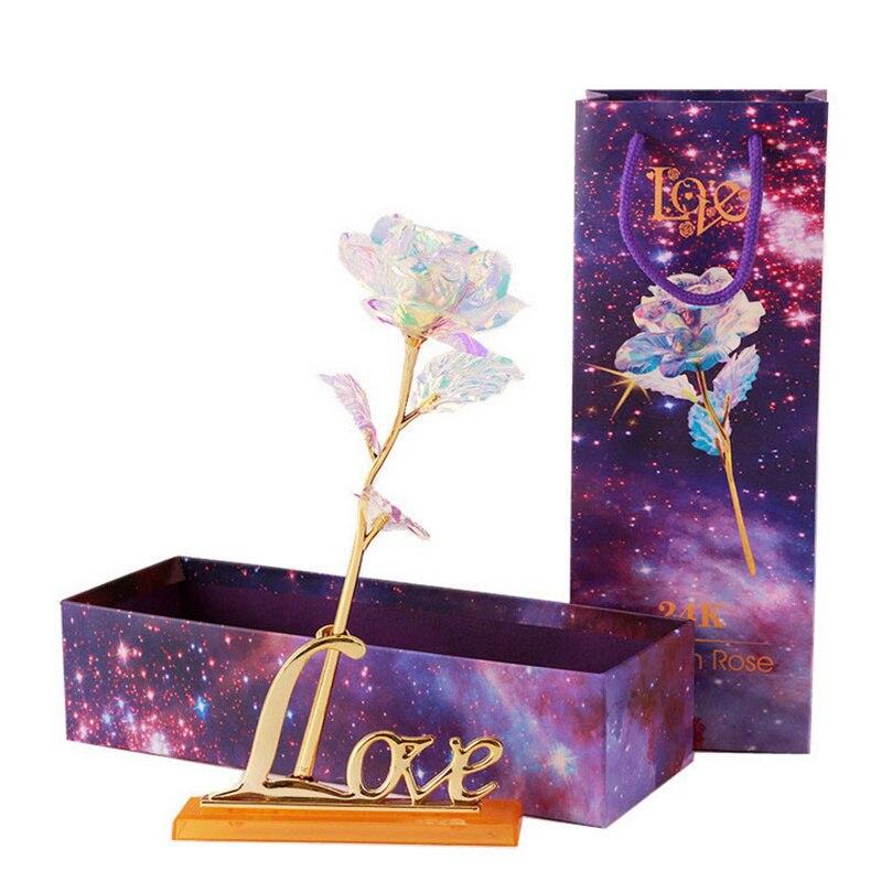 YO CHO fleurs artificielles 24k or Rose avec boîte nouvel an Valentine \ x27s jour cadeau/cadeau feuille fleurs décor à la maison faux Roses