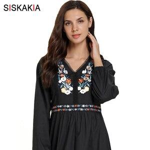 Image 5 - Siskakia מזדמן מוסלמי ארוך שמלת אתני V צוואר ארוך שרוול פרחוני רקמת מקסי שמלות שחור בתוספת גודל בגדי ערב 2019