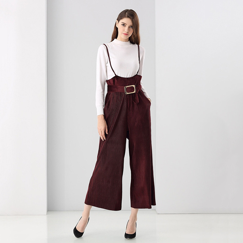 Jumpsuits Women Solid Corduroy Fabric Adjustable Suspenders Full Length Bottom High Quality Ladies Rompers New Fashion 2017