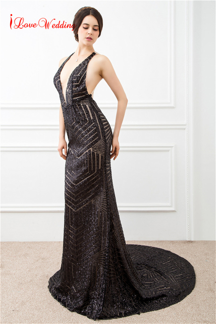 38d16a650f738 US $72.0 10% OFF|Sexy Sequin Mermaid Evening Dress Black Formal Evening  Gowns Dresses Prom Dress See Through V Neckline Vestido de fiesta 2018-in  Prom ...