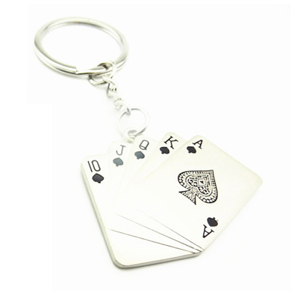 Metal Poker Card Pendant Keyring Key Chain Silver Tone