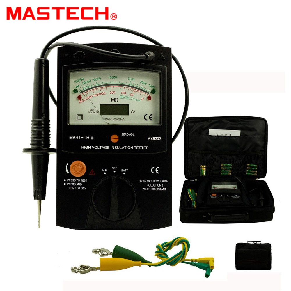 MASTECH MS5202 100000Mohm Digital Analog Insulation Tester tramegger high voltage insulation tester genuine mastech ms5202 digital analogue high voltage insulation tester 8xaa 1x6f22