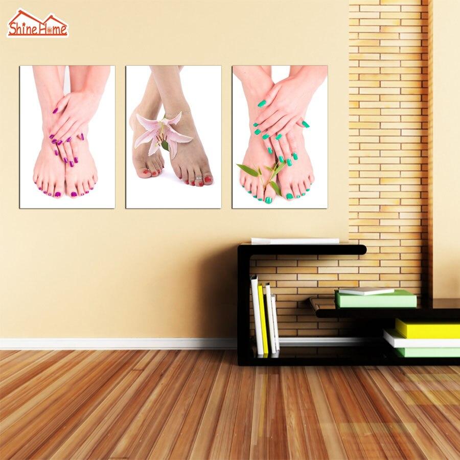 Shinehome 4pcs Wall Art Canvas Painting Printing Spa Yoga: ShineHome 3pcs Canvas Printed Wall Painting Feet Nail Yoga