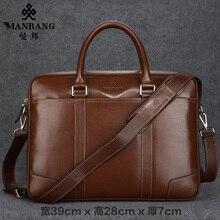 Manbang 2017 New Designer business bag Men Genuine Leather Shoulder Bags First Layer Cowskin Casual Messenger bag MBJ0087