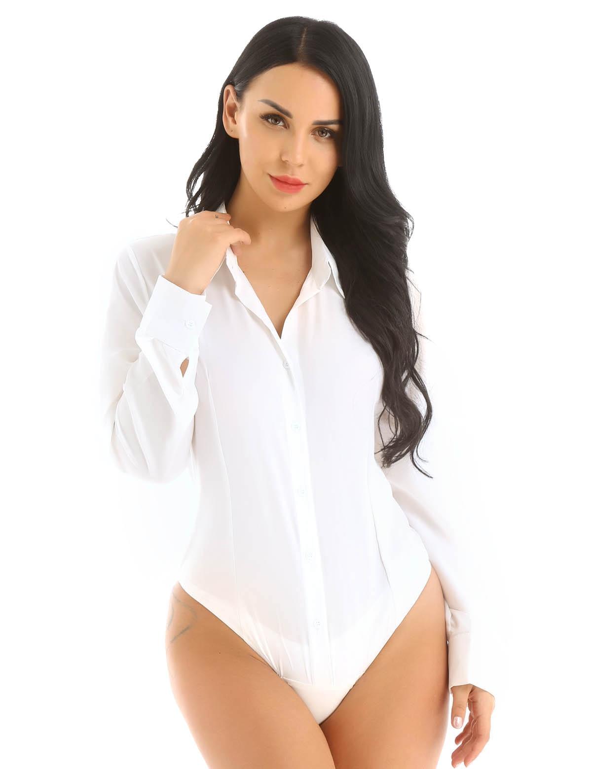 Office Lady Work White Bodysuit Woman Long Sleeve OL Shirt Bodysuit Women's  Clothing Lady Turn Down Collar Tops Body Blouse Suit Bodysuits  - AliExpress