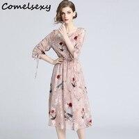 Comelsexy Elegant Flower Embroidery 2019 New Summer Dresses Women Drawstring Bow Half Sleeve Elastic Waist Floral Chiffon Dress