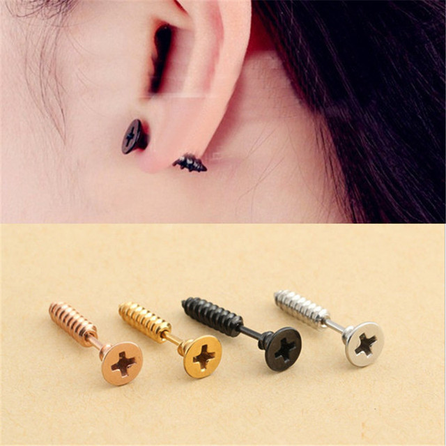 0fec03e1f Punk Style Screw Pattern Metal Earrings Fashion Cool Ear Stud for Unisex