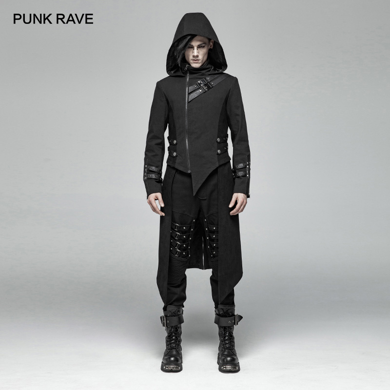 PUNK RAVE Mens Punk Jackets and Coats Mid length Split Hooded Jackets Gothic Performance Personality Jacket Men Trench Coat