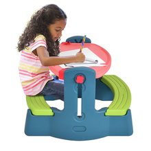 Plastic Height Adjustable 2-in-1 Children Drawing Table Chair Set Multi-function and Durable Drawing Table Colorful Look OP3233(China)