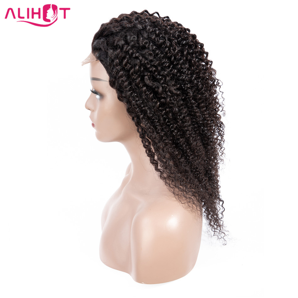 Ali Hot Peruvian Lace Front Hair Wigs Kinky Curly Human Hair Wigs 10 22 Natural Color