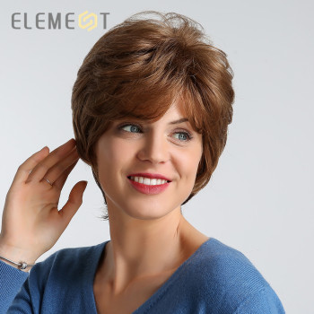 цена на ELEMENT 6 Inch Short Heat Resistant Synthetic Wig Brown Color Natural Hairline Party Work Daily Use Wigs for Women Free Shipping